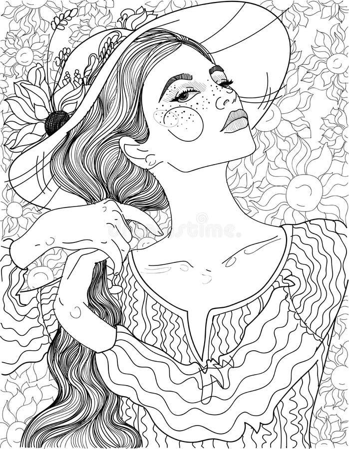 Zonnebloemen landelijk meisje stock illustratie