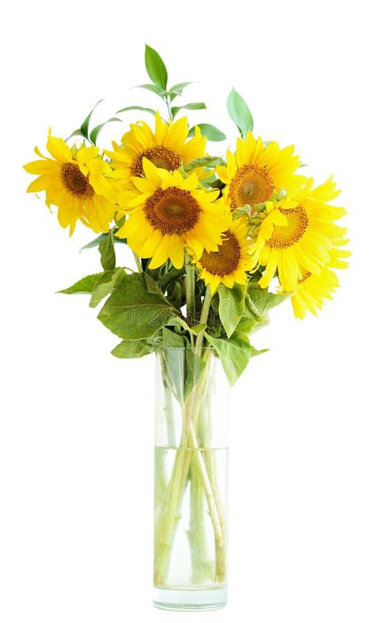 Zonnebloemenboeket in een vaas royalty-vrije stock afbeeldingen