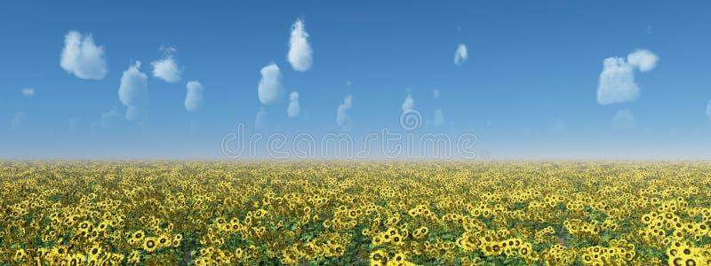 Zonnebloemgebied tegen een blauwe hemel met aardige weerwolken vector illustratie