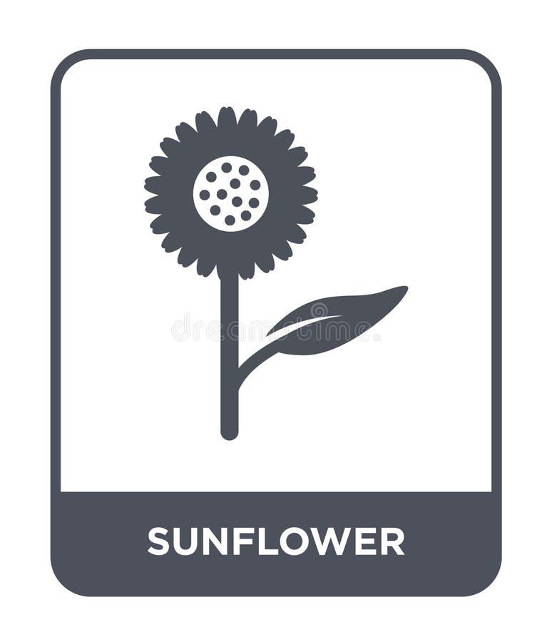 zonnebloempictogram in in ontwerpstijl zonnebloempictogram op witte achtergrond wordt geïsoleerd die eenvoudige en moderne vlakte stock illustratie