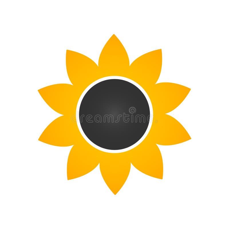 Zonnebloempictogram in vlakke stijl VectordieIllustratie op witte achtergrond wordt geïsoleerd stock illustratie