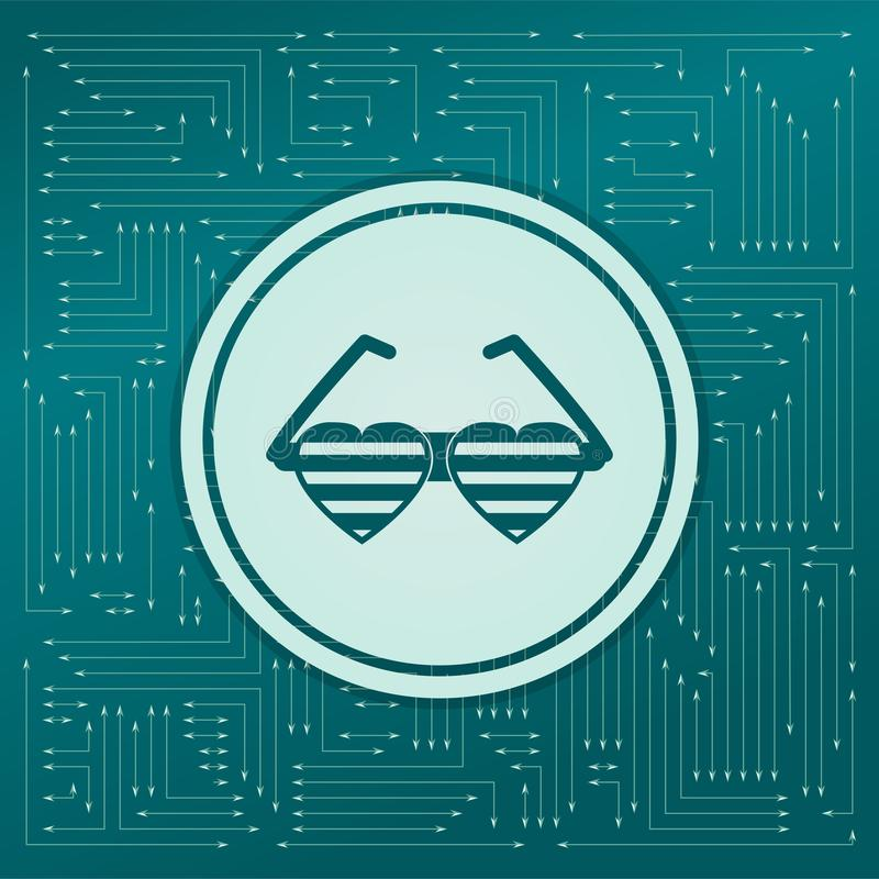 Zonnebril in de vorm van hartpictogram op een groene achtergrond, met pijlen in verschillende richtingen Het lijkt de elektronisc royalty-vrije illustratie
