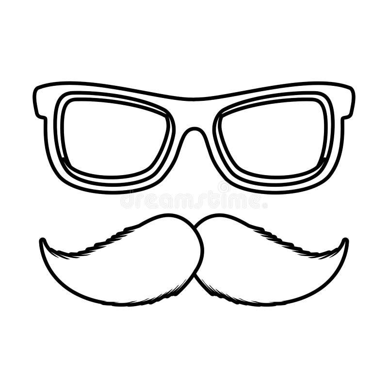 Zonnebril en snor bijkomend pictogram stock illustratie