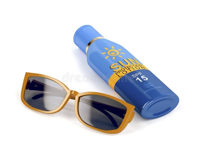 Download Zonnebril en zonnescherm stock illustratie. Illustratie bestaande uit lotion - 114225588