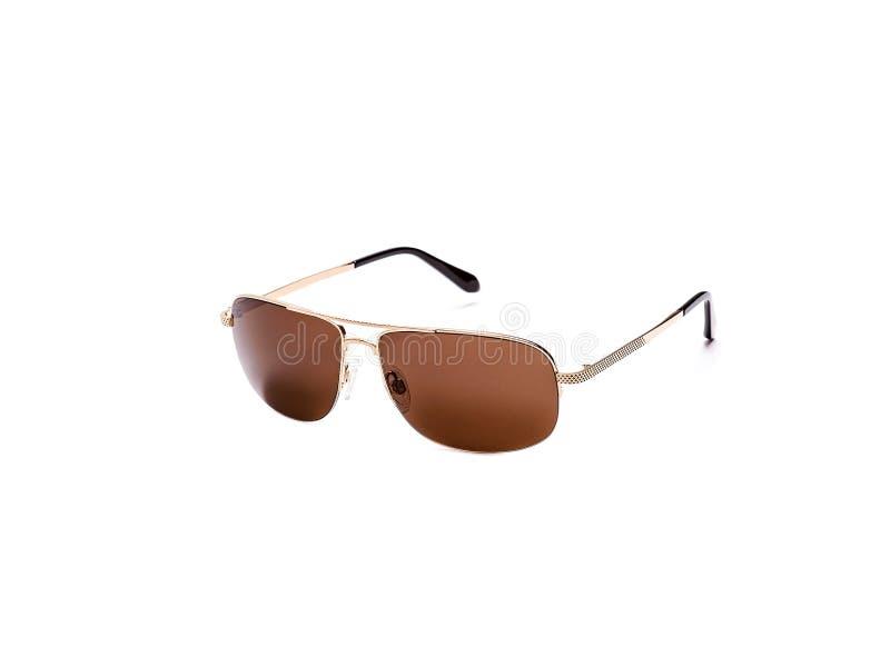 Zonnebril met bruine glazen op een ge?soleerde witte achtergrond stock afbeeldingen