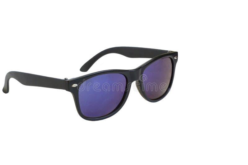 Zonnebril, zwart kader, blauwe geïsoleerde lenzen, royalty-vrije stock foto's