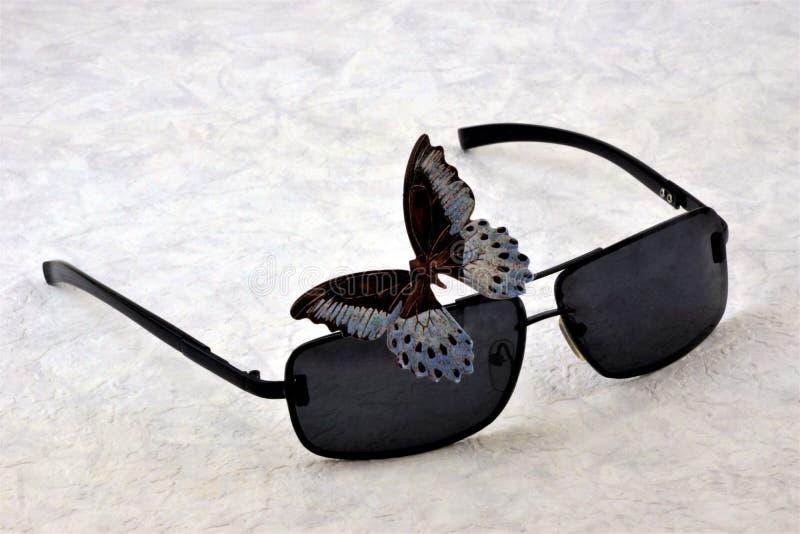 Zonnebrilglazen, versleten om de ogen tegen zonlicht en UVstralen te beschermen royalty-vrije stock afbeeldingen