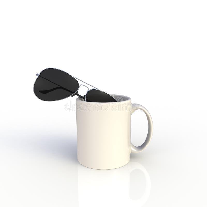 Zonnebrillen met witte koffiebeker geïsoleerd op witte achtergrond Malplaatje van de Mock omhoog voor toepassingsontwerp Apparatu stock illustratie