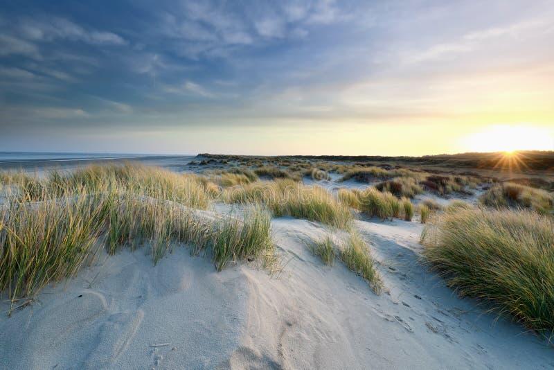Zonnehoogten boven zandduinen aan de noordzeekust royalty-vrije stock foto's