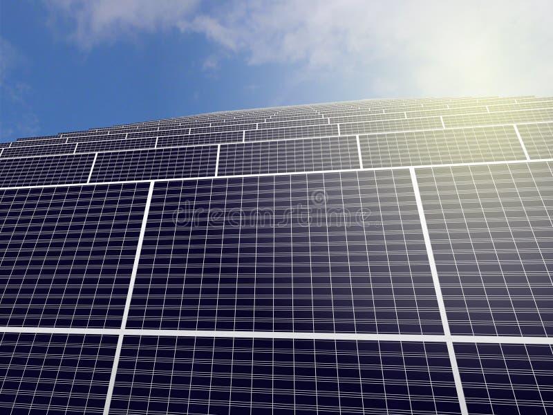 Zonnemacht, het 3D teruggeven vector illustratie