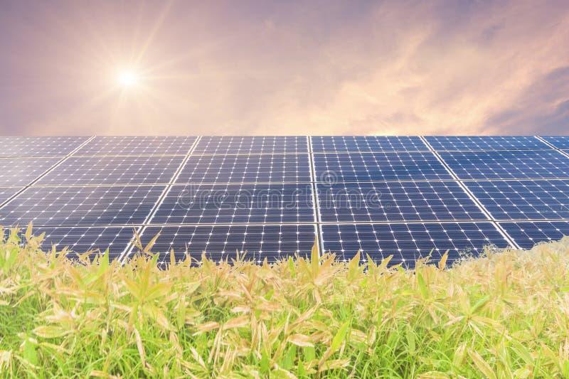 Zonnemachtspanelen voor innovatie groene energie voor het leven met bergen met zonsopgang stock afbeeldingen