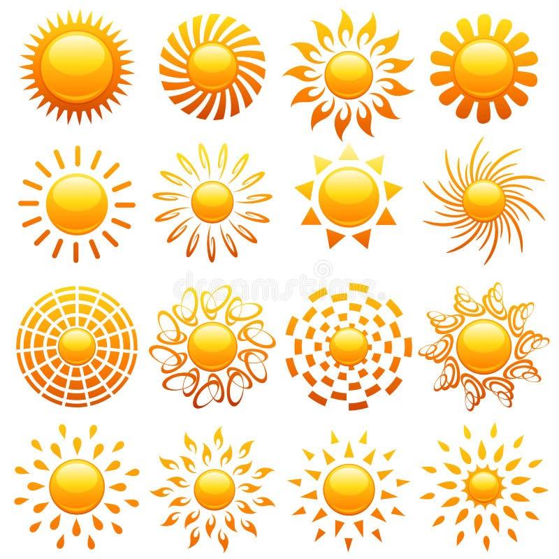 Zonnen. Elementen voor ontwerp. stock illustratie