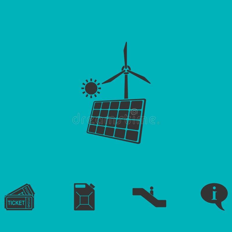 Zonnepaneel en windmolens voor vlak energiepictogram stock illustratie