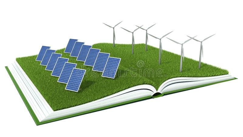 Zonnepaneel en windturbine met groen gras op boek vector illustratie