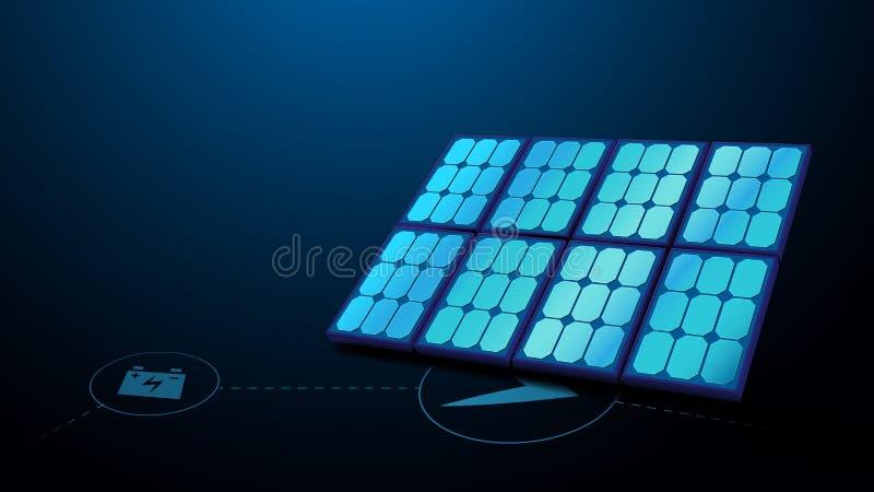 Zonnepaneel met energietechnologiepictogrammen Het conceptenachtergrond van de ecologie royalty-vrije illustratie