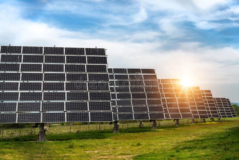 Zonnepaneel, photovoltaic, alternatieve conc elektriciteitsbron - stock fotografie