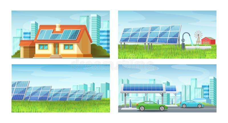 Zonnepanelen, alternatieve energie Groene milieuvriendelijke energieextractie, energie - besparing vector illustratie