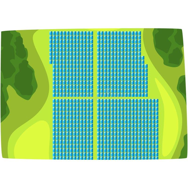 Zonnepanelen, mening van hierboven, productie van energie van de zon, ecologische energie die post horizontale vector veroorzaken royalty-vrije illustratie