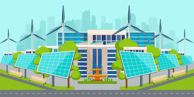 Zonnepanelen met windturbines in ecologisch schone stad vector illustratie