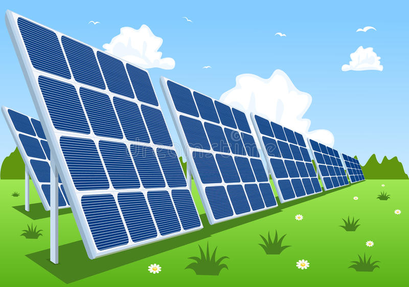 Zonnepanelen of photovoltaic modules vector illustratie
