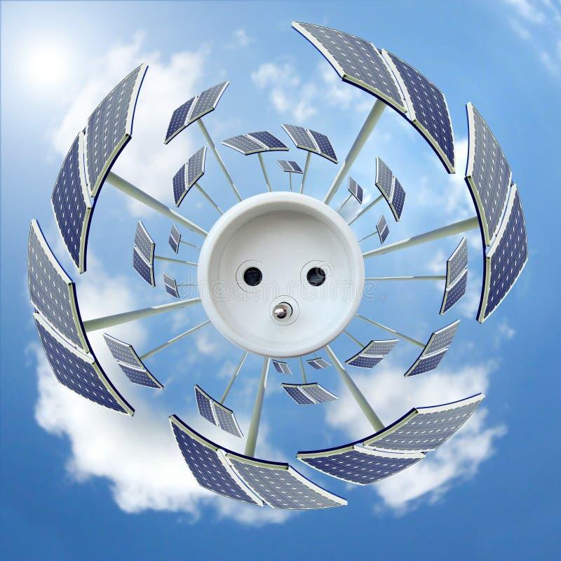 Zonnepanelen rond een afzet - het concept van de Ecologie stock afbeelding