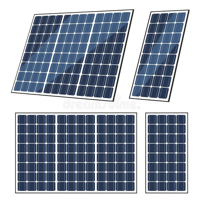 Zonnepanelen van zonenergie, de batterij van de ecomacht vector illustratie