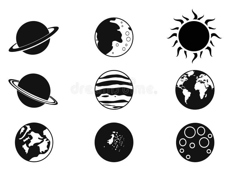 Zonneplaneetpictogrammen stock illustratie