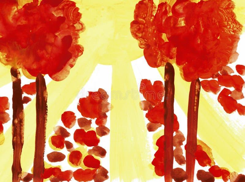 Zonneschijn in een Vergankelijk Bos in de Herfst royalty-vrije illustratie