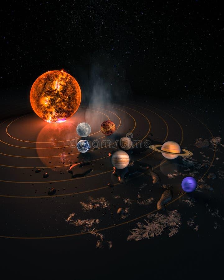 Zonnestelsel acht planeten stock foto's