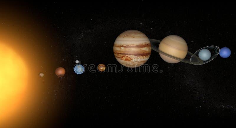 Zonnestelsel en planeten stock illustratie