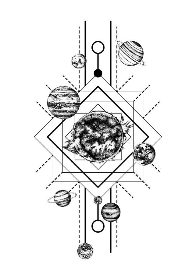 Zonnestelsel heilige meetkunde royalty-vrije illustratie