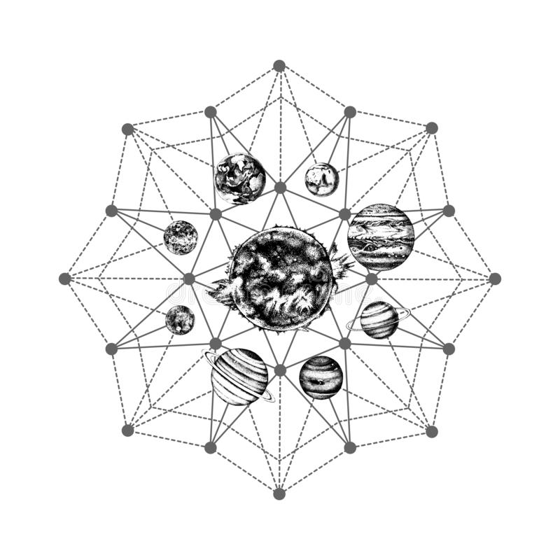 Zonnestelsel heilige meetkunde stock illustratie