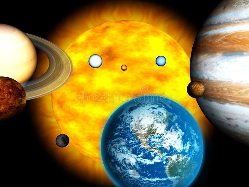 Zonnestelsel met het branden van zon royalty-vrije illustratie