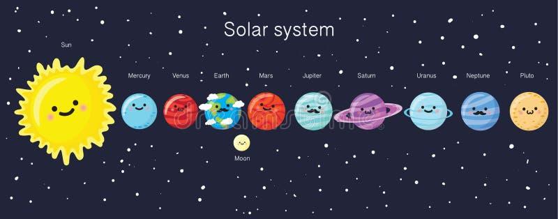 Zonnestelsel met leuke het glimlachen planeten, zon en maan vector illustratie
