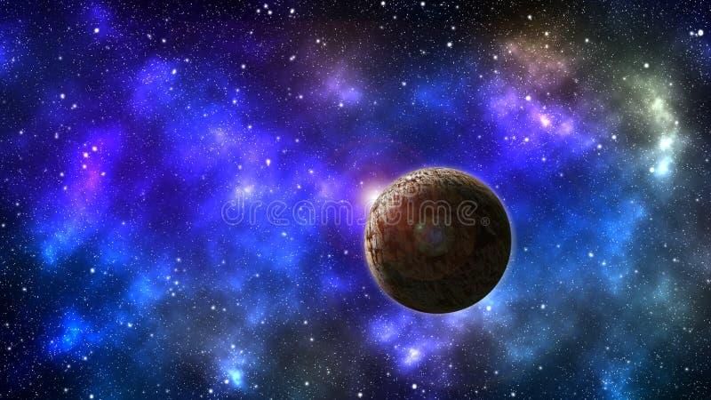 Zonnestelsel met onbekende planeet royalty-vrije illustratie