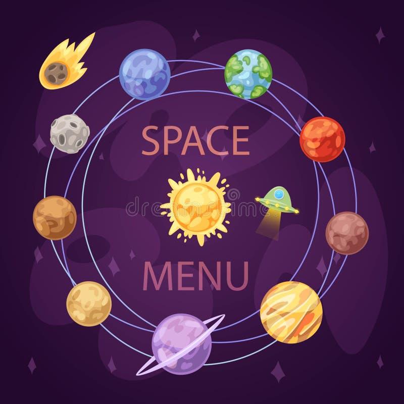Zonnestelsel met planeten, ruimteschip en stervormige riem op donkere achtergrondbeeldverhaal vectorillustratie Ruimte en stock illustratie