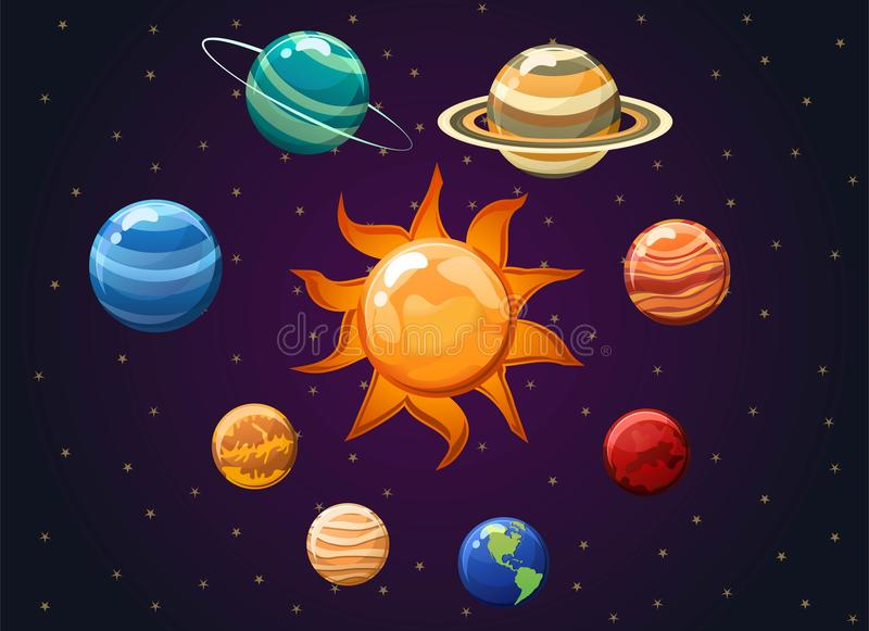 Zonnestelsel vectordieillustratie op ruimteachtergrond wordt geïsoleerd Vectorillustratie die planeten tonen rond de zon stock illustratie
