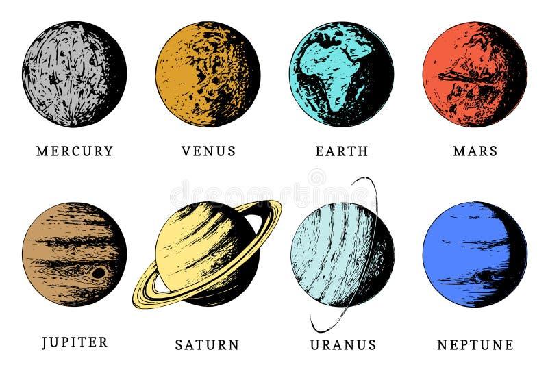 Zonnestelselinfographics in vector Hand getrokken illustratie van acht planeten vector illustratie