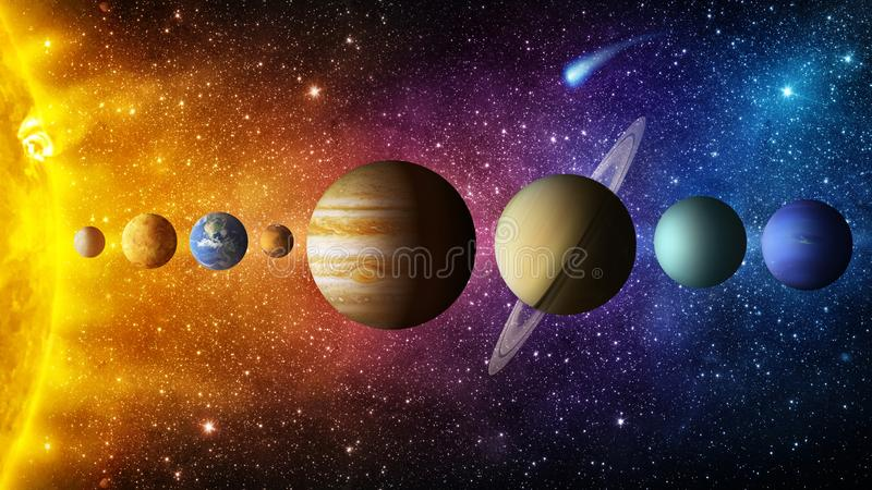 Zonnestelselplaneet, komeet, zon en ster Elementen van dit die beeld door NASA wordt geleverd royalty-vrije stock afbeelding