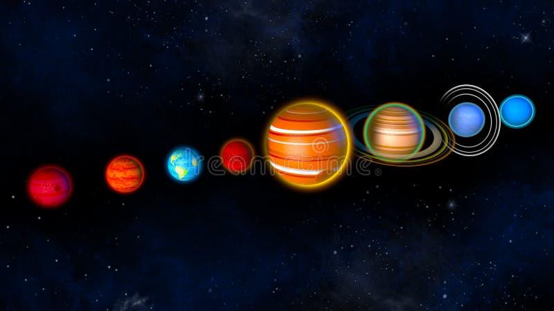 Zonnestelselplaneten het 3d teruggeven vector illustratie