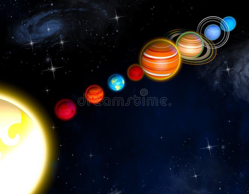 Zonnestelselplaneten het 3d teruggeven stock illustratie