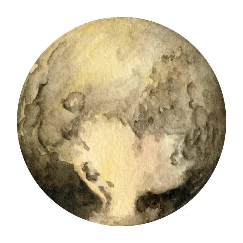 Zonnestelselplaneten - Pluto De illustratie van de waterverf stock illustratie