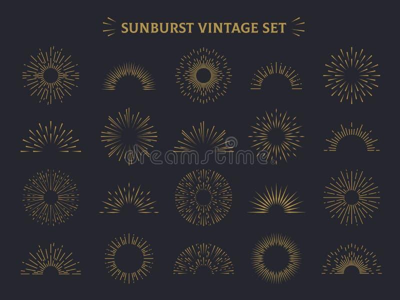 Zonnestraalreeks Barstte de hand getrokken zonnestraal van de de zonsondergangontploffing van het zonsopgangvuurwerk de decoratie vector illustratie