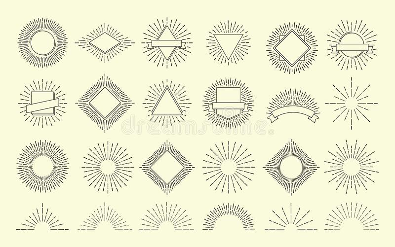 Zonnestraalreeks De wijnoogst barstte radiaal embleem De kaders van de zonsopgangexplosie Geïsoleerd grafisch van zonneschijn vec vector illustratie