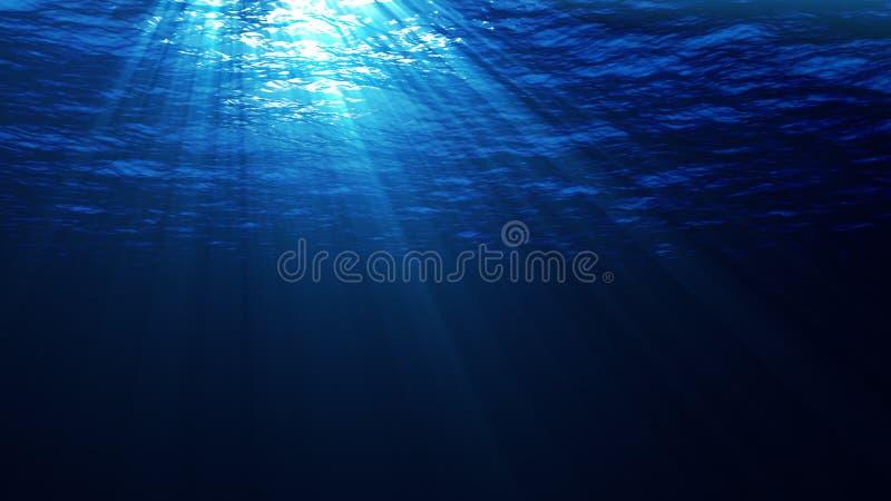 Zonnestralen die door zeewater breken stock illustratie