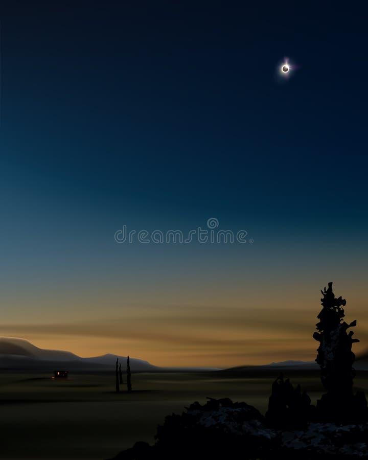 Zonneverduistering tijdens zonsondergang stock illustratie
