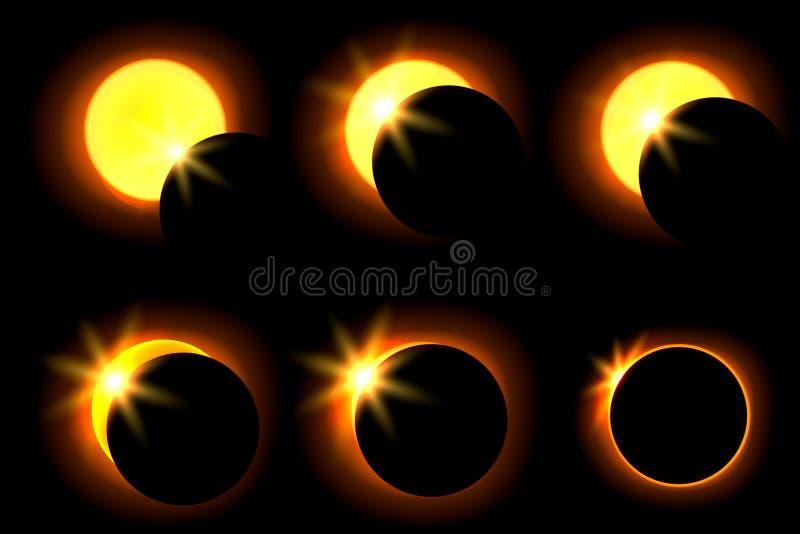 Zonneverduistering in zes verschillende fasen Astronomisch fenomeen van het sluiten van de glanzende zon door de maan royalty-vrije illustratie