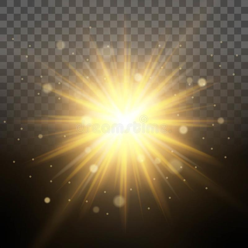 Zonneverlichtingssimulatie van dageraad, glanzende verlichte stralen, doorzichtige lenseffect gloedachtergrond Gemakkelijk om bac stock illustratie