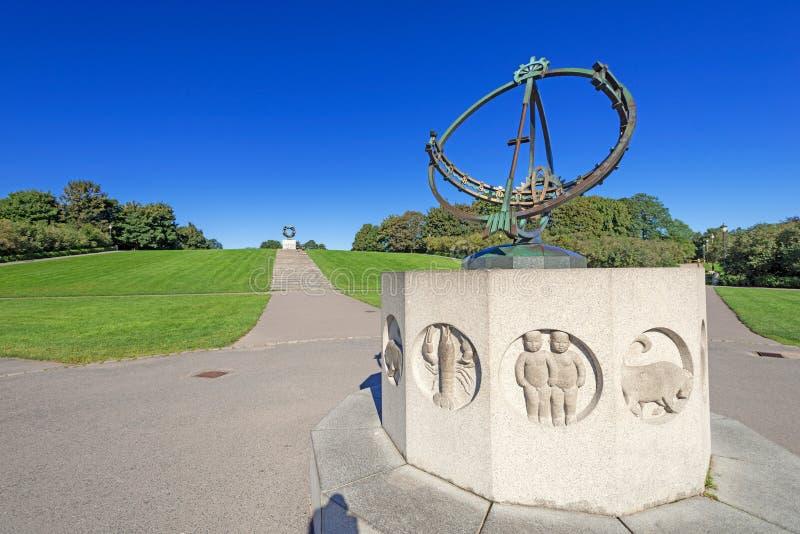 Zonnewijzer in park Vigeland in Oslo stock afbeeldingen