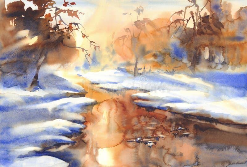 Zonnig de winterlandschap met een rivierwaterverf royalty-vrije illustratie